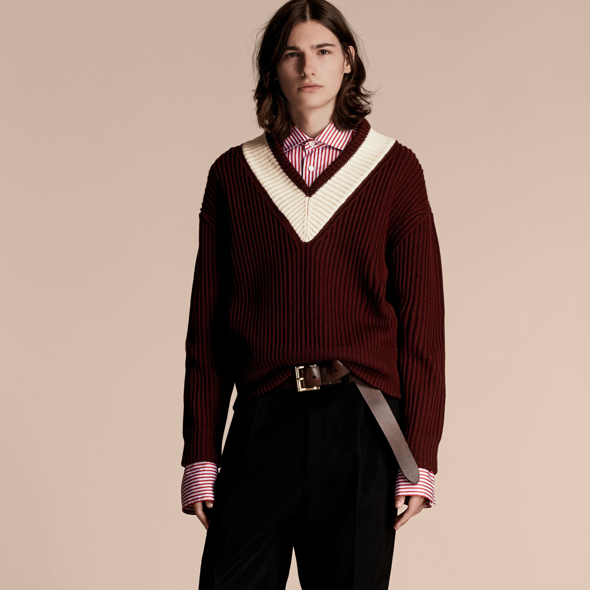 Deep burgundy/natural white Sports-striped Wool Sweater - gallery image 6
