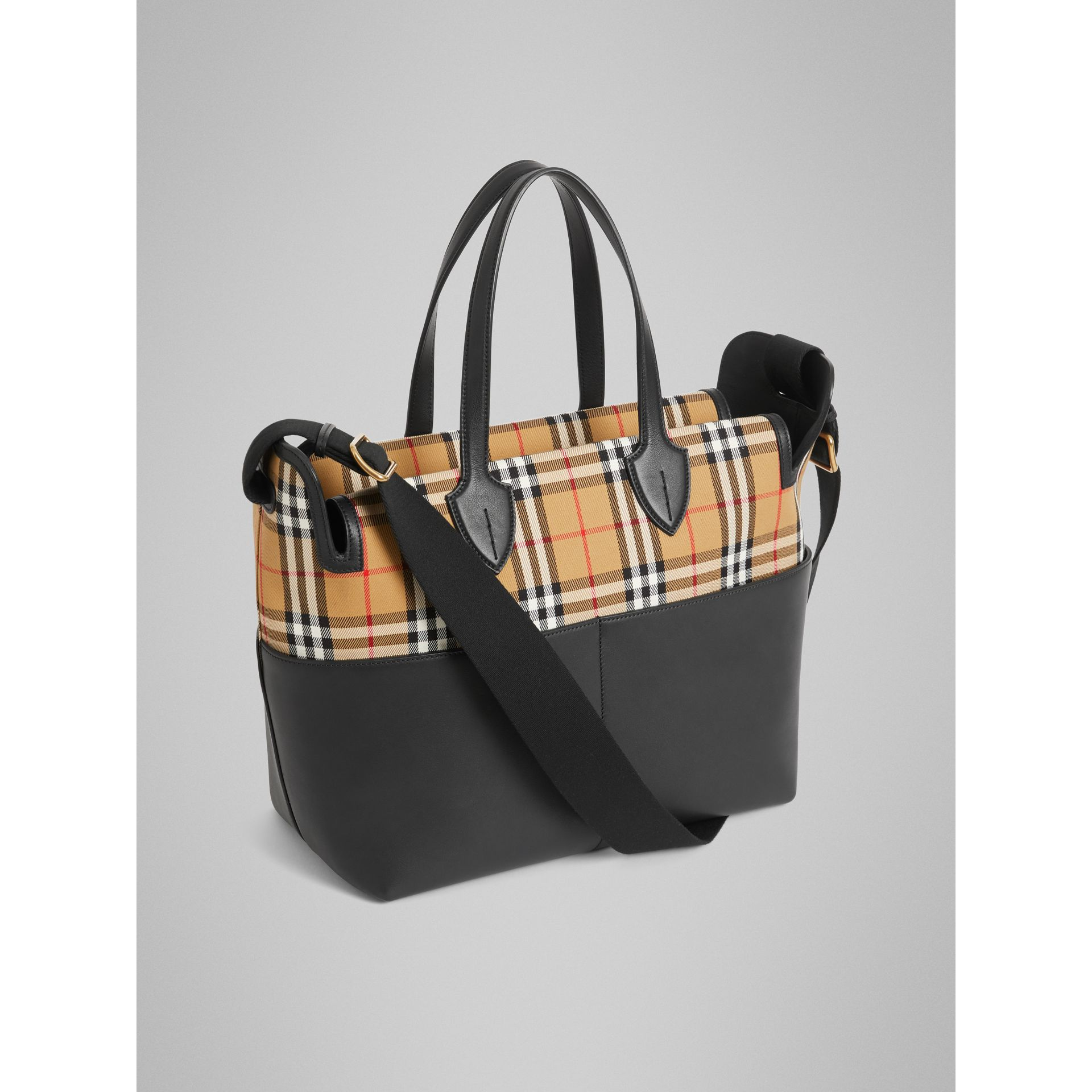 Vintage Check and Leather Baby Changing Tote in Black - Children | Burberry United States - gallery image 2
