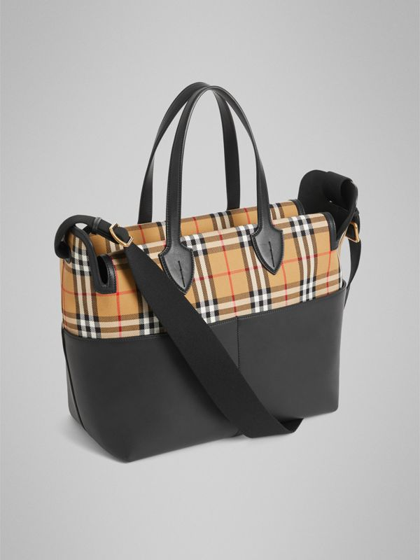 Vintage Check and Leather Baby Changing Tote in Black - Children | Burberry United States - cell image 2