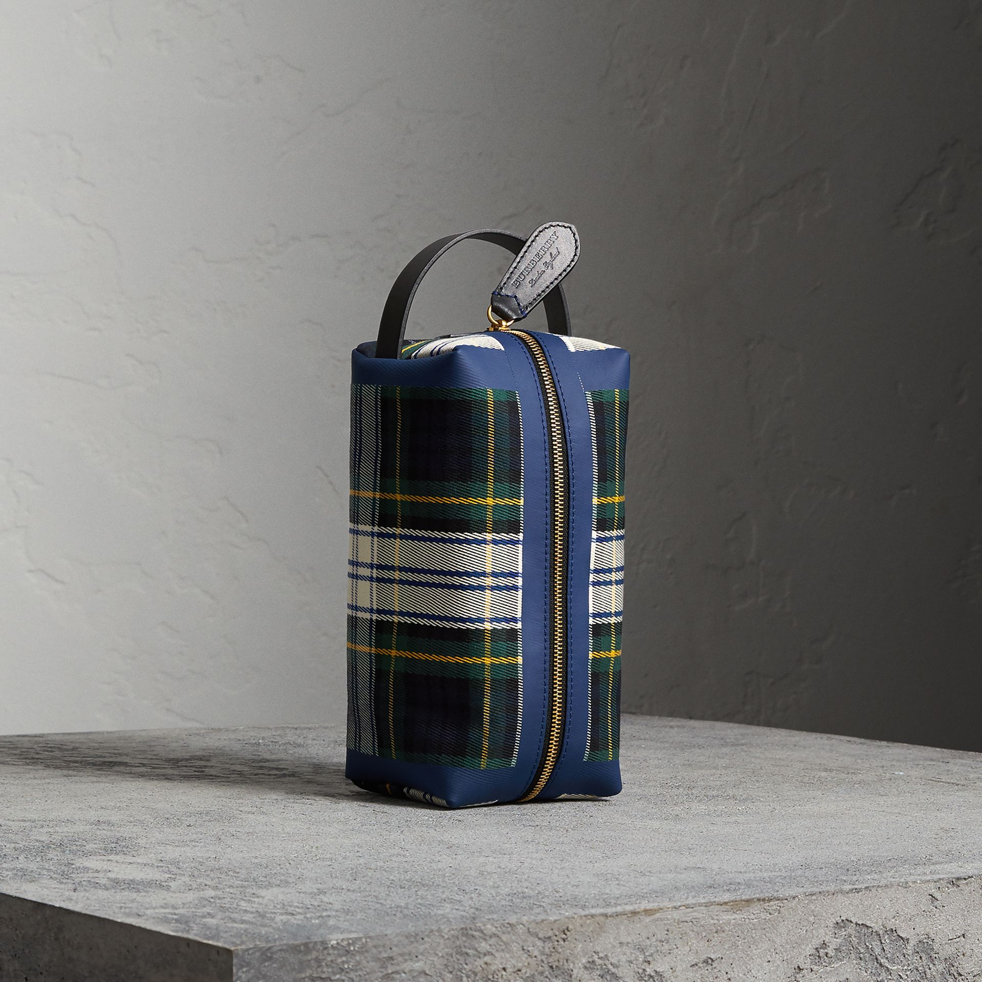 Tartan Cotton Pouch in Limestone | Burberry United Kingdom - gallery image 0