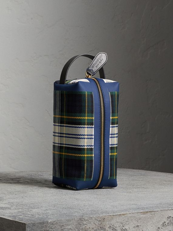Tartan Cotton Pouch in Limestone