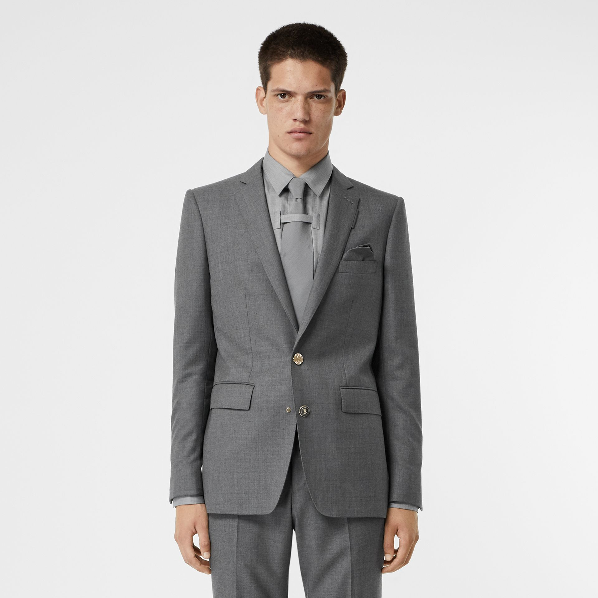 English Fit Metal Button Wool Tailored Jacket in Light Grey | Burberry - gallery image 0