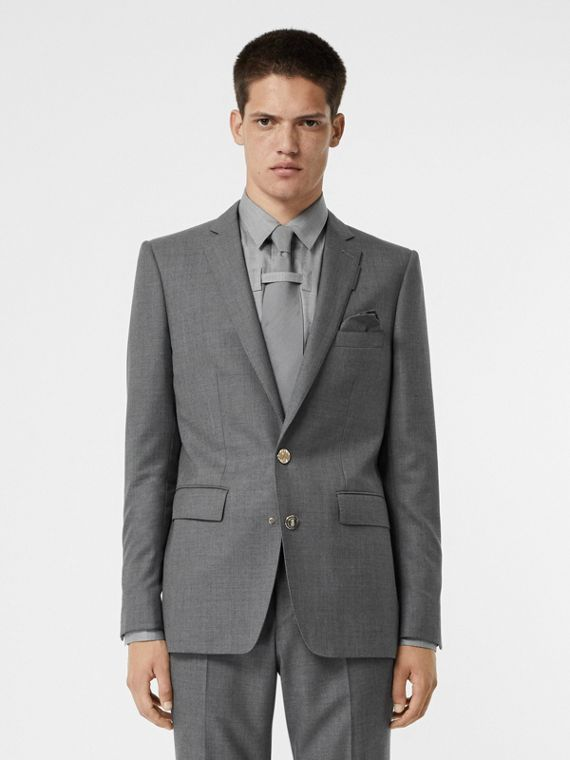 English Fit Metal Button Wool Tailored Jacket in Light Grey