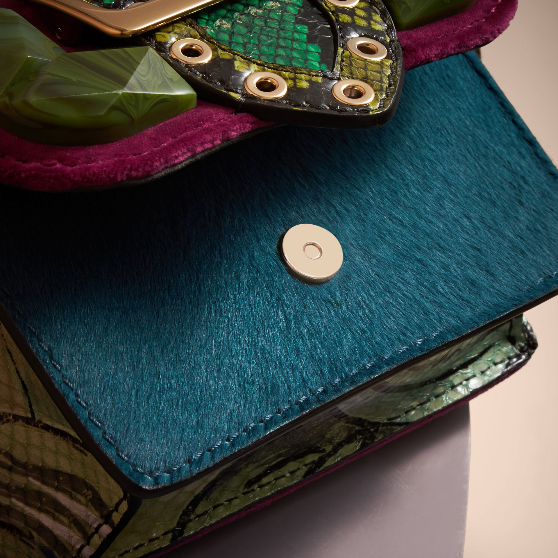 The Mini Square Buckle Bag in Calfskin, Snakeskin and Velvet in Damson - Women | Burberry United Kingdom - gallery image 4