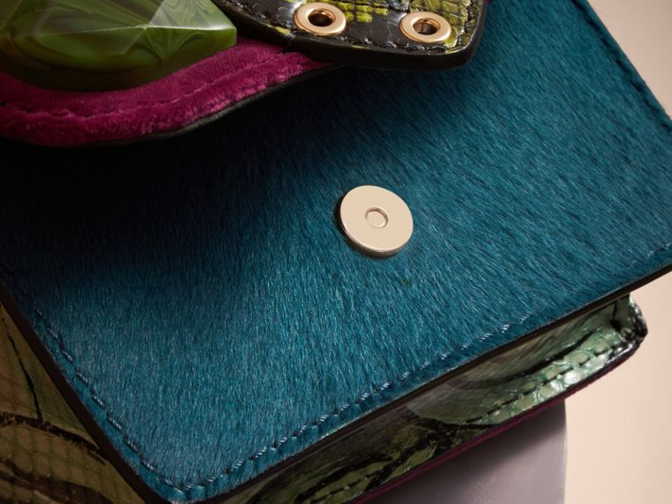 The Mini Square Buckle Bag in Calfskin, Snakeskin and Velvet Damson - cell image 4