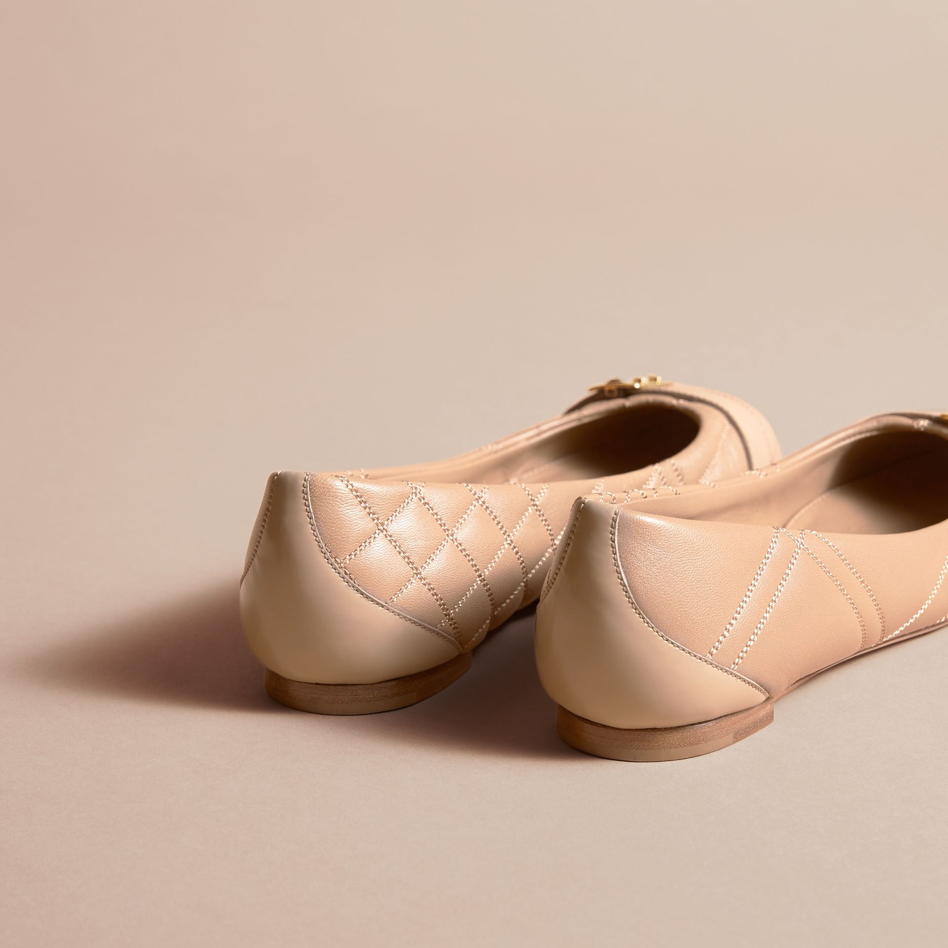 Buckle Detail Quilted Lambskin Leather Ballerinas in Honey - Women | Burberry - gallery image 4