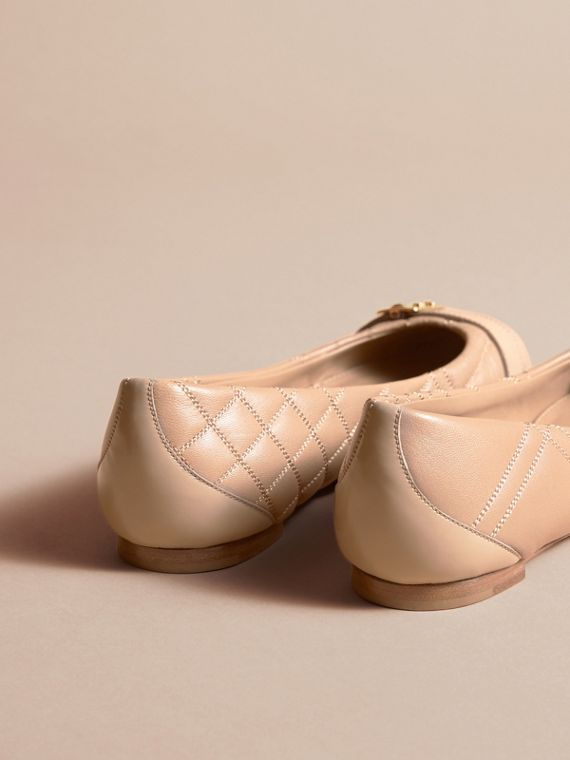 Buckle Detail Quilted Lambskin Leather Ballerinas in Honey - Women | Burberry - cell image 3
