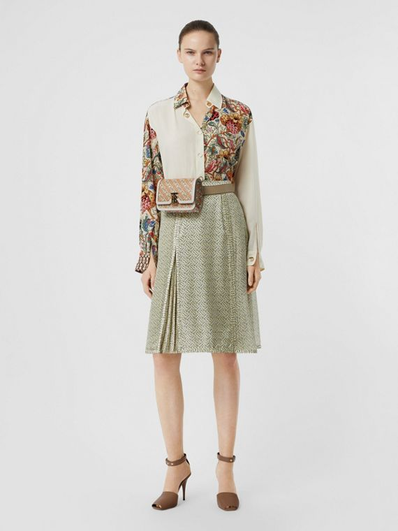 Floral Print Panel Silk Shirt in Vanilla