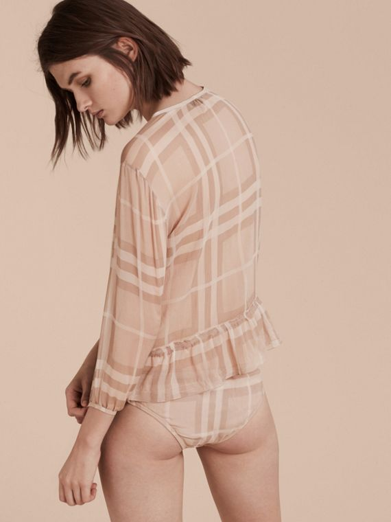 Nude Tonal Check Ruffle Detail Silk Crepon Top Nude - cell image 2