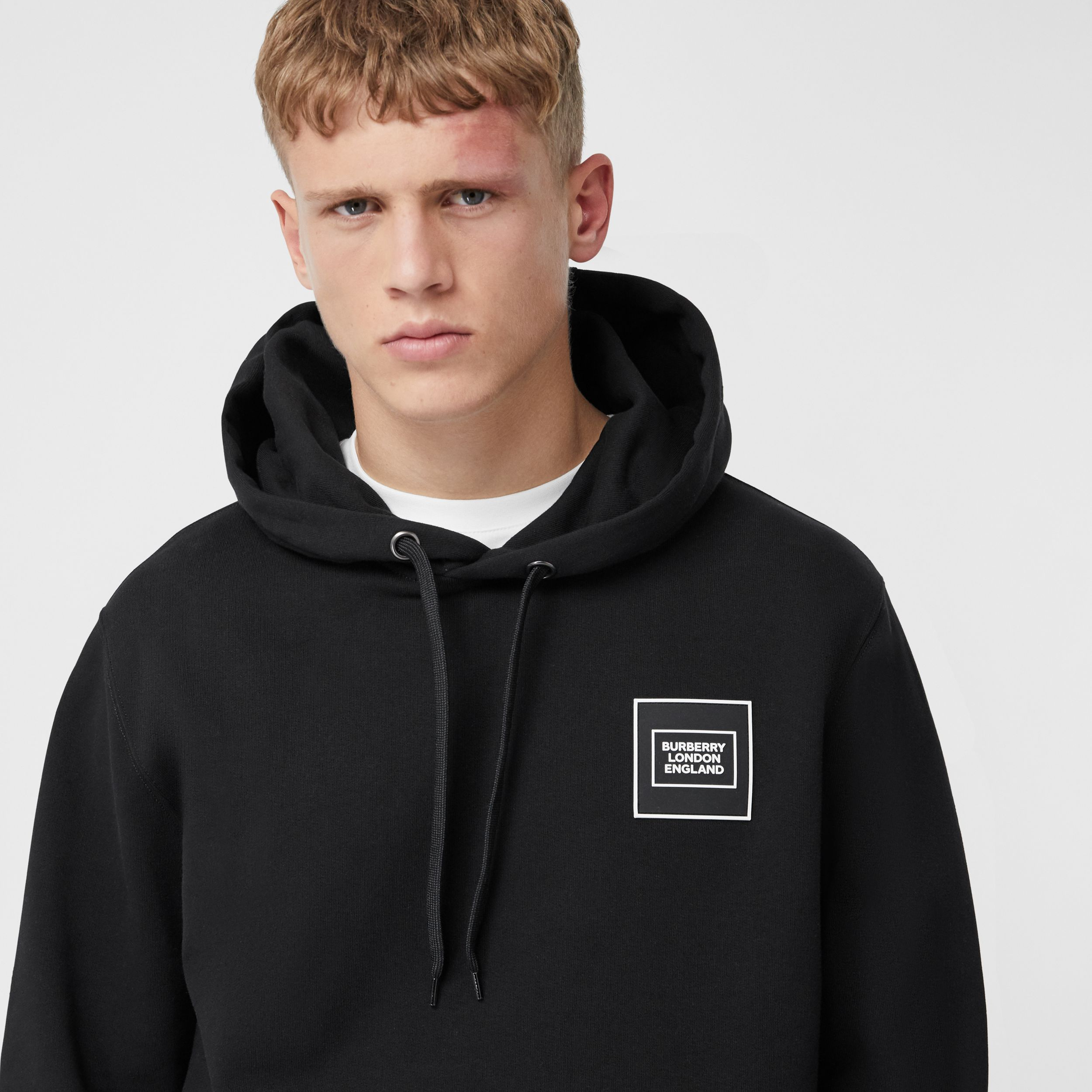 Logo Appliqué Cotton Hoodie in Black - Men | Burberry Hong Kong S.A.R. - 2