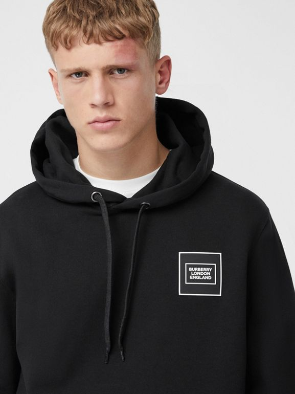 Logo Appliqué Cotton Hoodie in Black - Men | Burberry United Kingdom - cell image 1