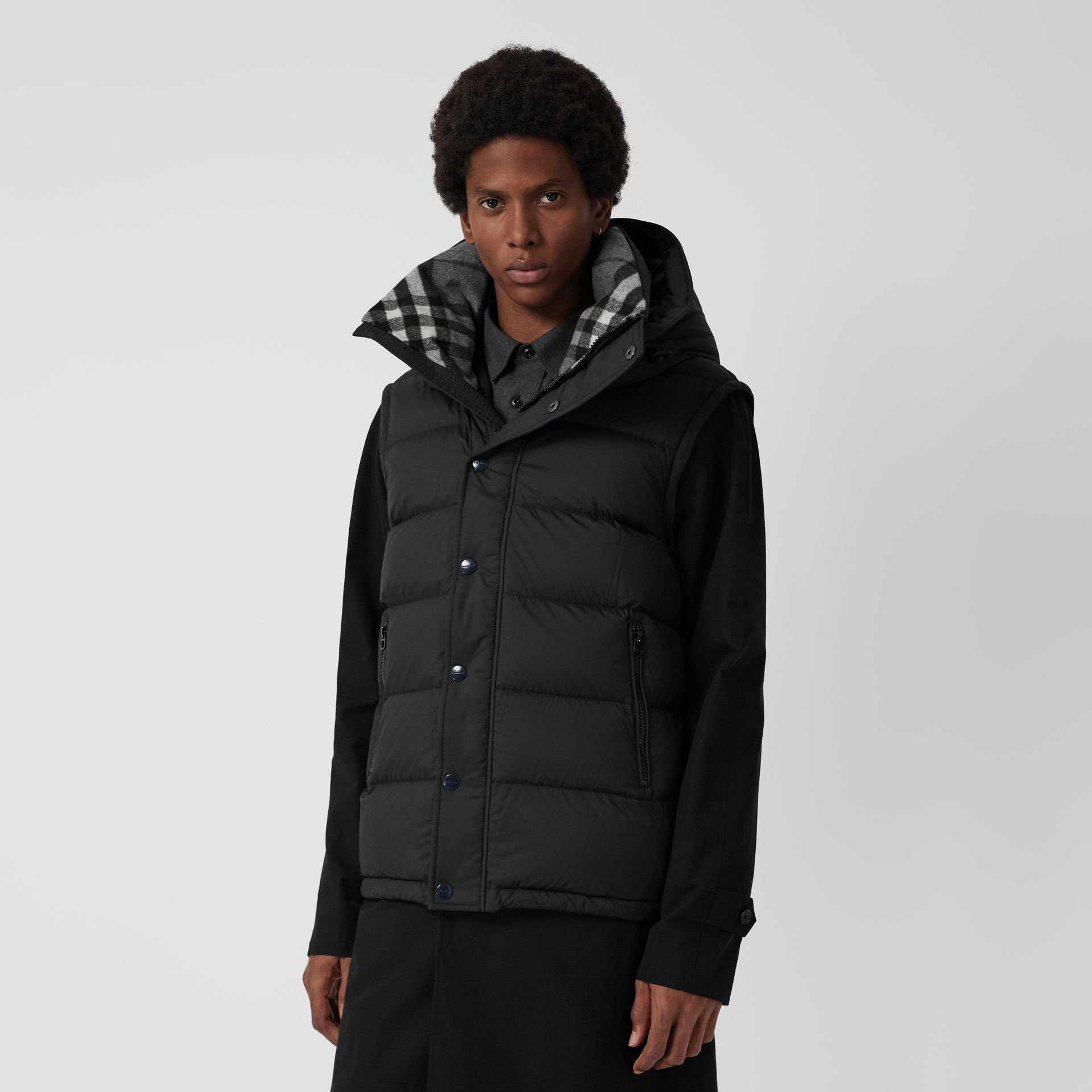 Detachable-sleeve Down-filled Hooded Puffer Jacket in Black - Men | Burberry Canada - gallery image 5
