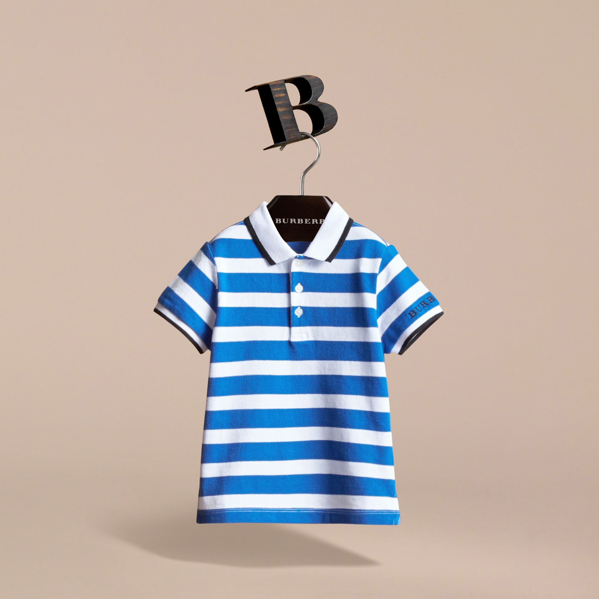 Striped Cotton Polo Shirt in Cerulean Blue | Burberry - gallery image 3