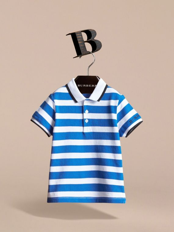 Striped Cotton Polo Shirt in Cerulean Blue | Burberry - cell image 2