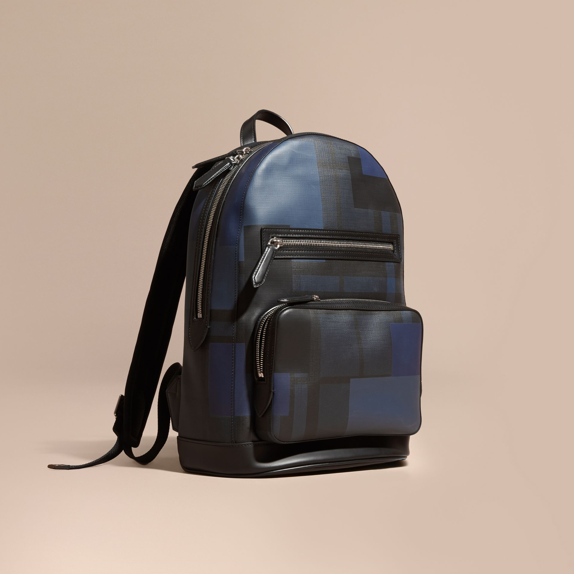 Navy/geometric Patchwork Print London Check Backpack - gallery image 1