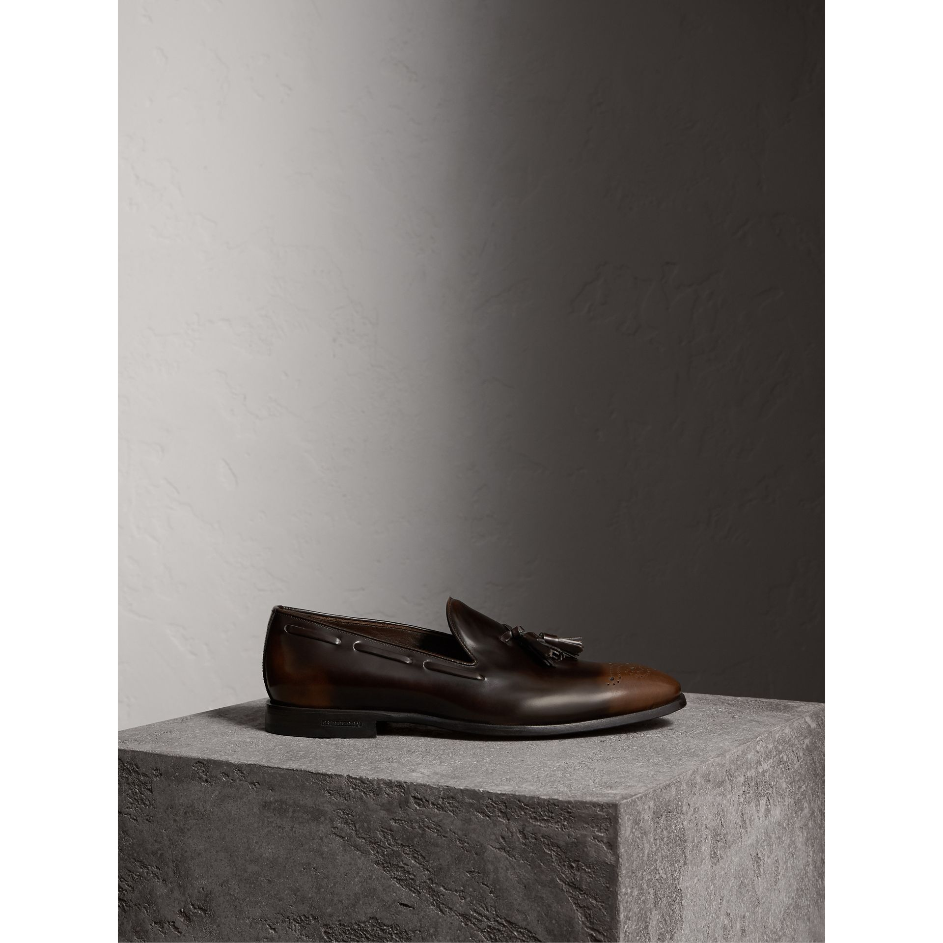 Tasselled Patent Leather Loafers in Chocolate Brown - Men | Burberry - gallery image 4
