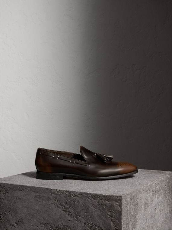 Tasselled Patent Leather Loafers in Chocolate Brown - Men | Burberry - cell image 3