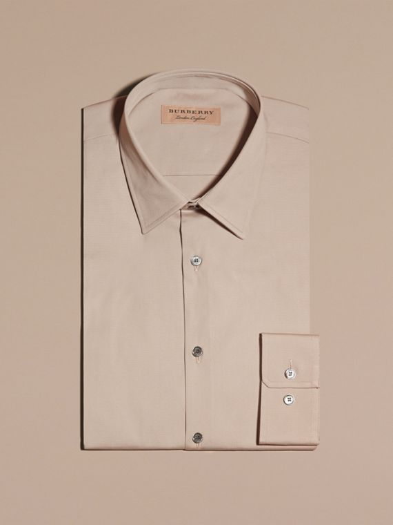 Taupe Slim Fit Stretch Cotton Blend Shirt Taupe - cell image 3