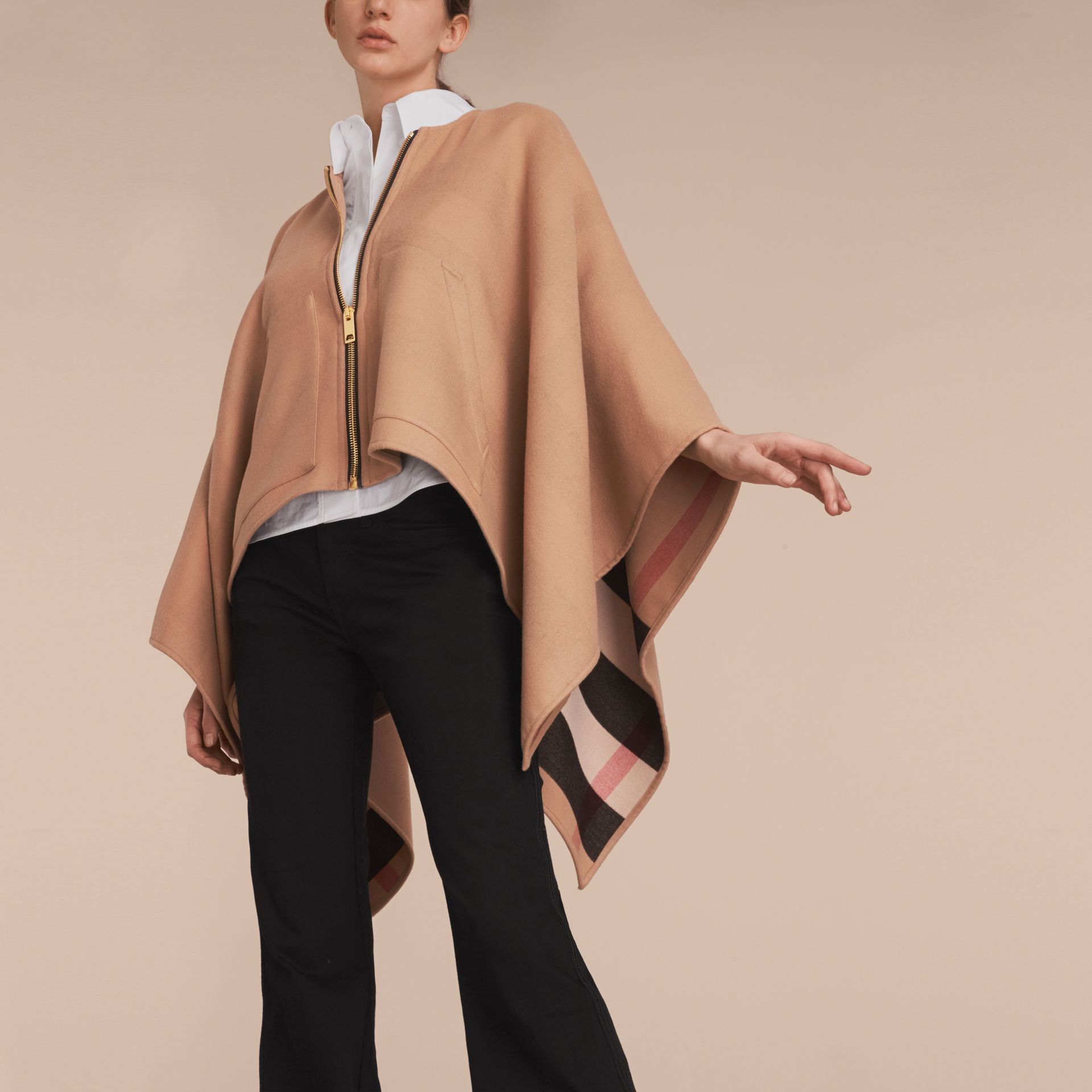 Merino Wool Poncho in Camel - Women | Burberry - gallery image 5