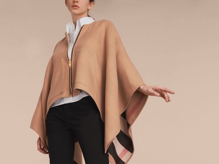 Merino Wool Poncho in Camel - Women | Burberry - cell image 4