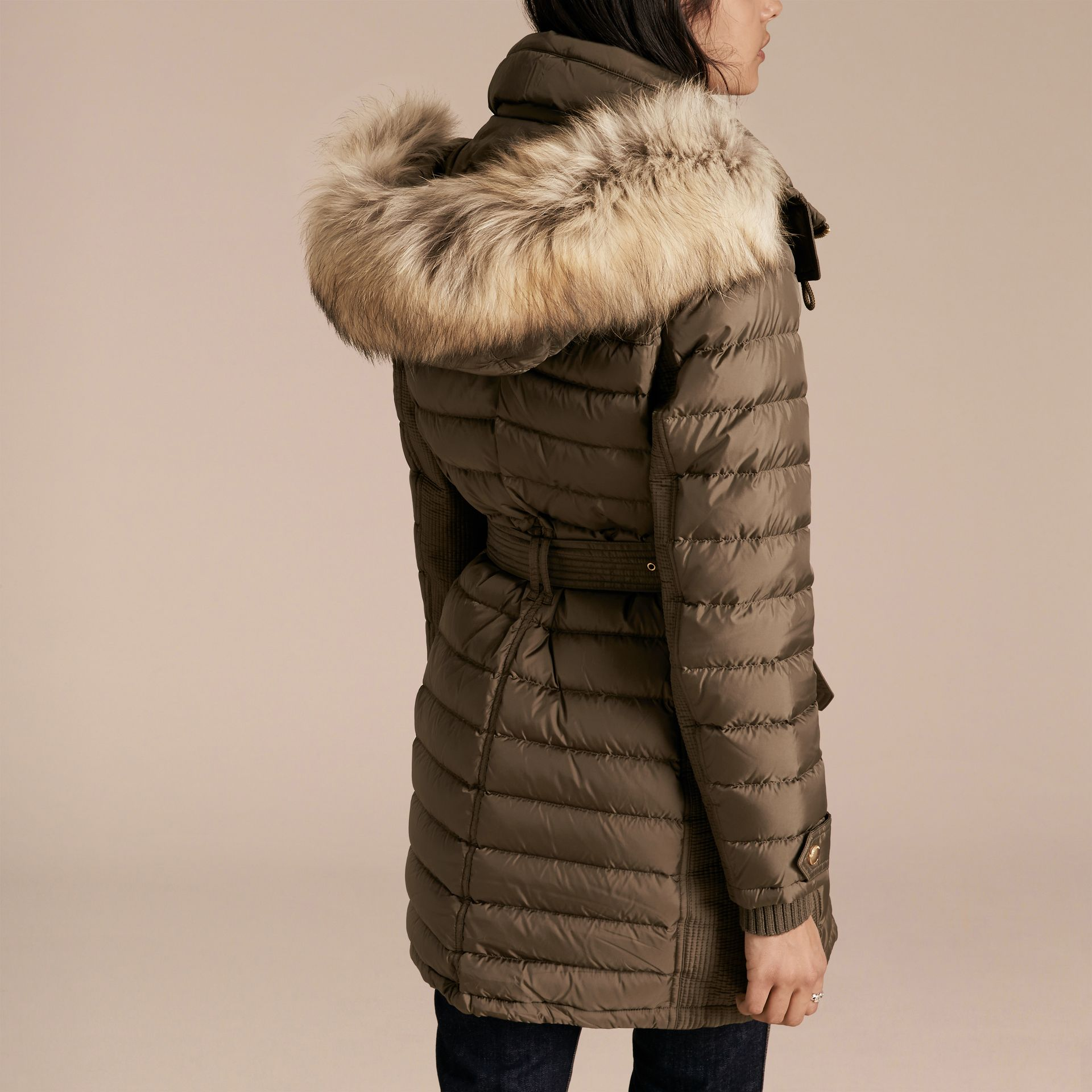 Mink grey Slim Fit Down-filled Parka with Fur Trim Mink Grey - gallery image 3