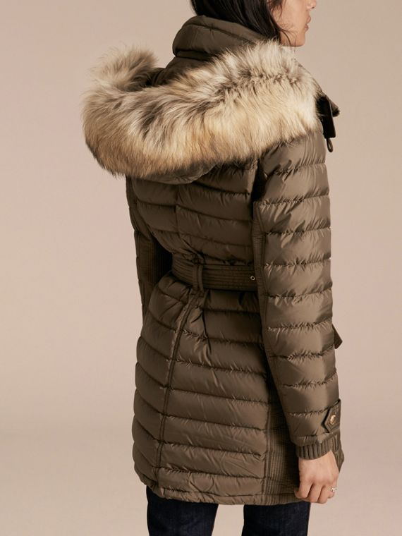 Mink grey Slim Fit Down-filled Parka with Fur Trim Mink Grey - cell image 2
