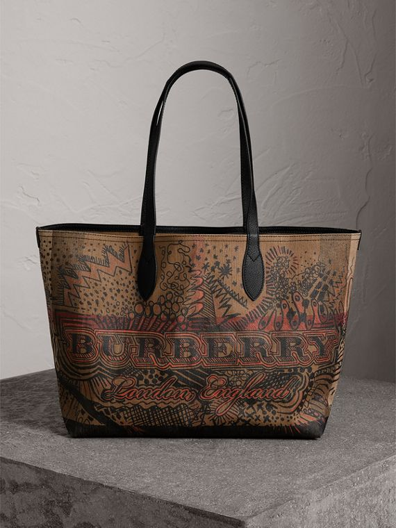 Borsa tote The Doodle media reversibile (Classic Check)