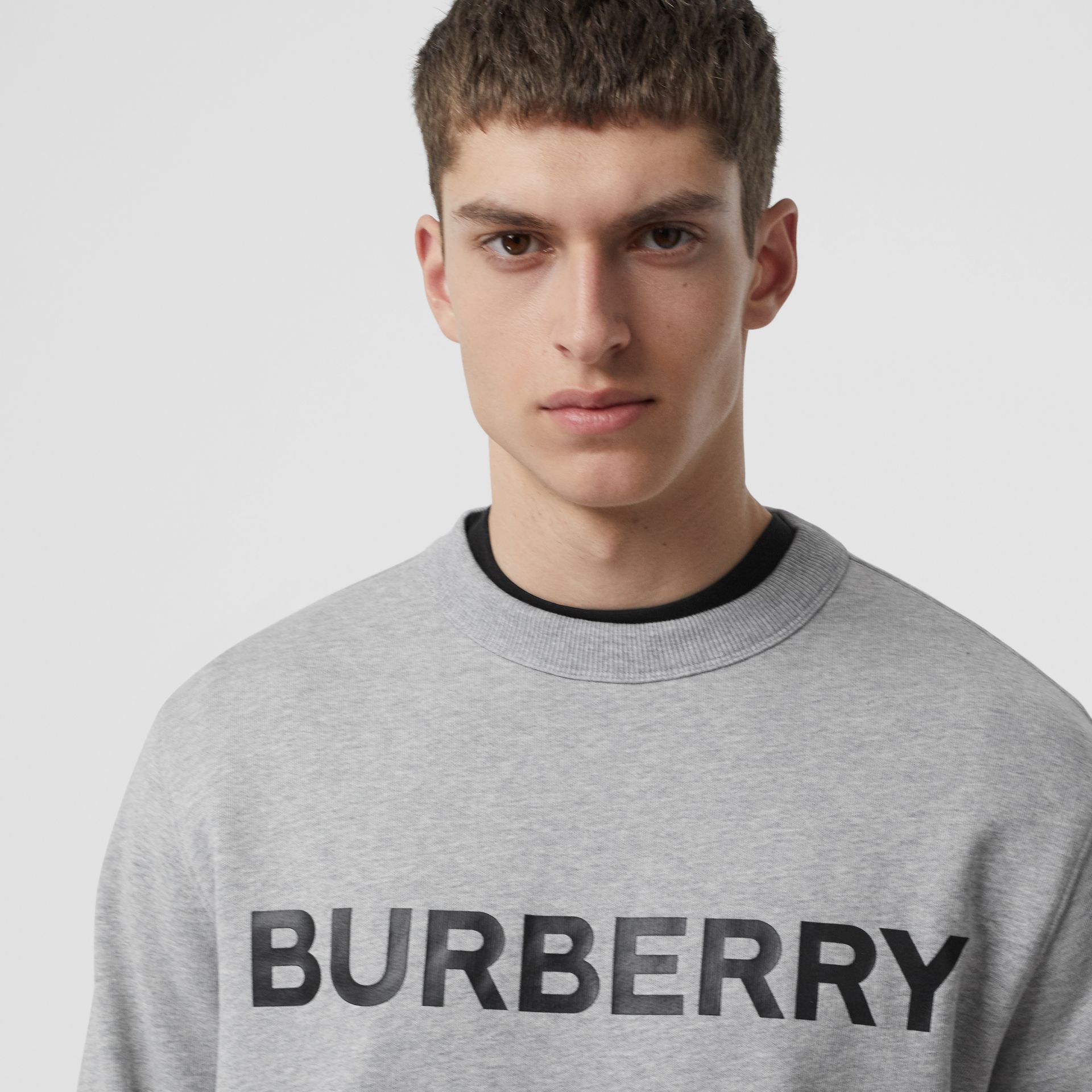 Horseferry Print Cotton Sweatshirt in Pale Grey Melange - Men | Burberry - gallery image 1