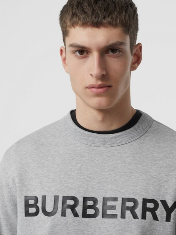 Horseferry Print Cotton Sweatshirt in Pale Grey Melange - Men | Burberry Australia - cell image 1