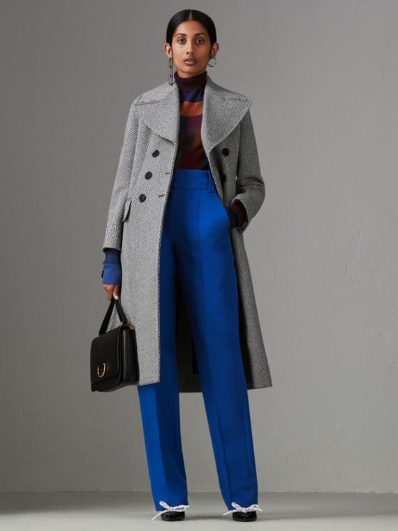 Шерстяное пальто с узором «в елочку» (Черный /белый)