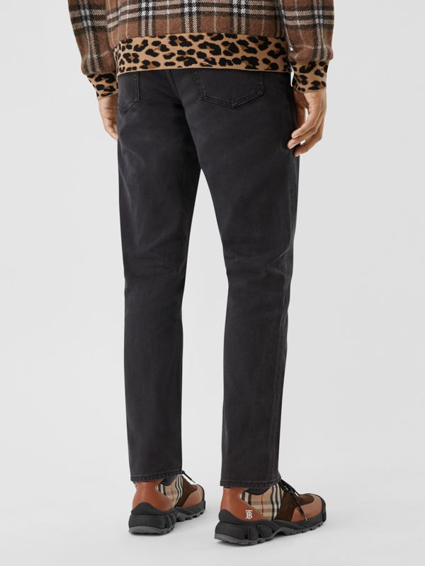 Straight Fit Washed Jeans in Black - Men | Burberry United Kingdom - cell image 2