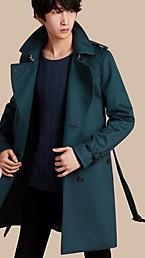 Trench-coat en cachemire avec garnitures en cuir