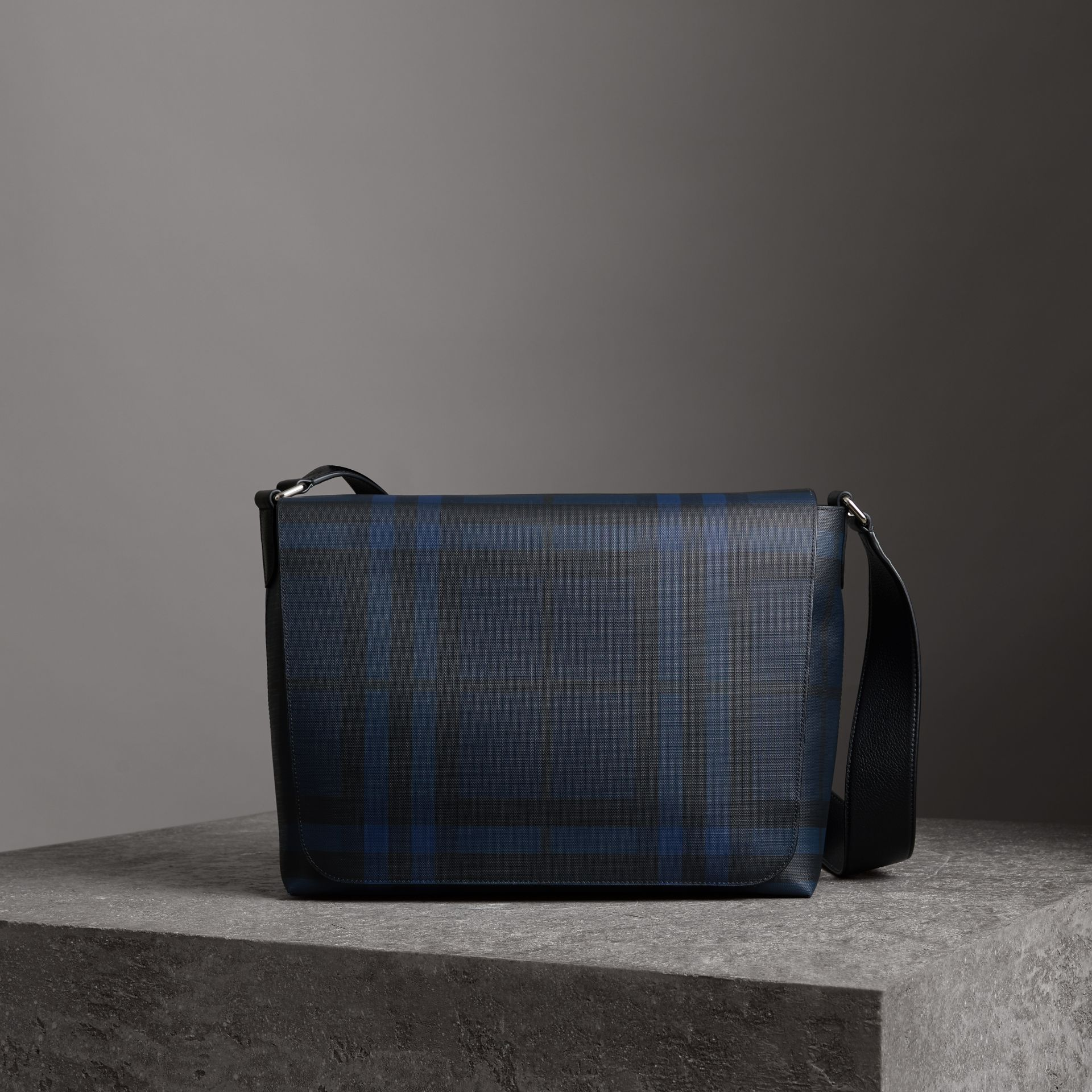 Large London Check Messenger Bag in Navy/black - Men | Burberry - gallery image 0