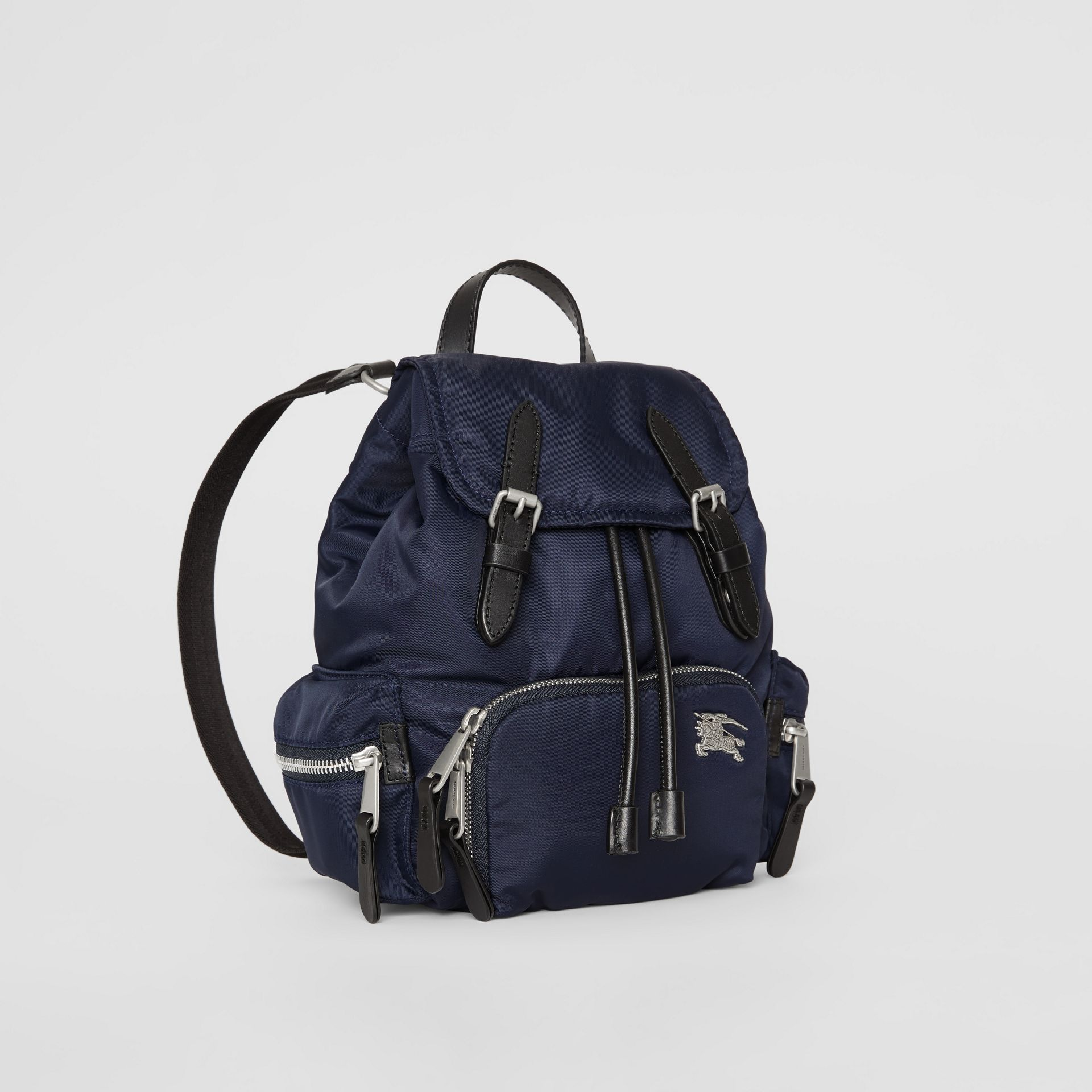The Small Crossbody Rucksack in Puffer Nylon in Ink Blue - Women | Burberry - gallery image 4