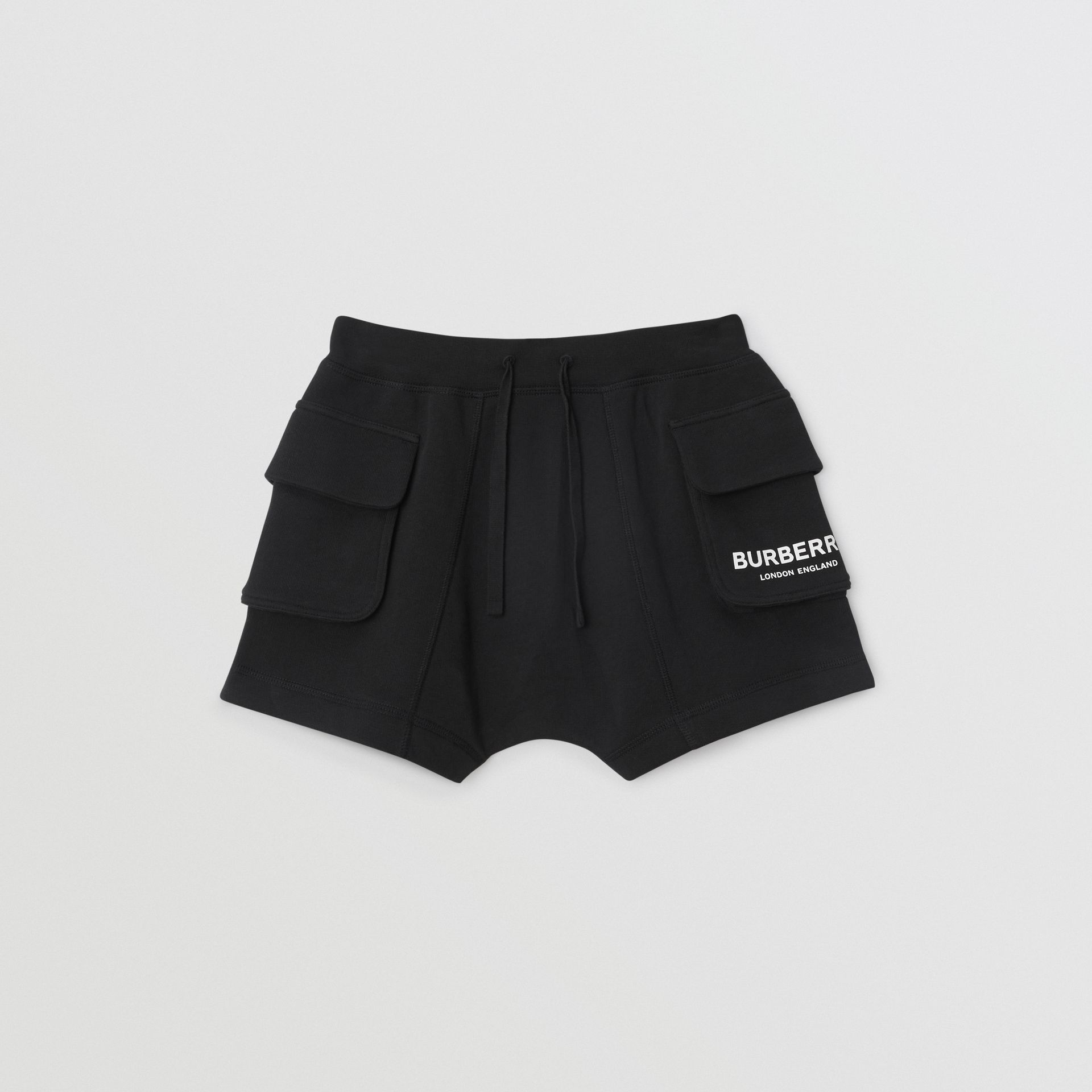 Logo Print Cotton Drawcord Shorts in Black | Burberry Singapore - gallery image 0