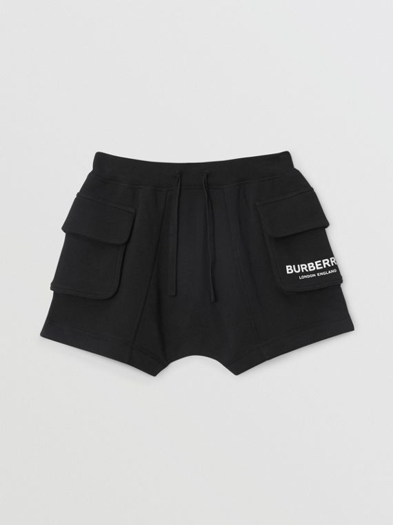 Logo Print Cotton Drawcord Shorts in Black