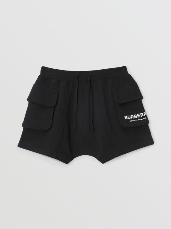 Short à cordon de serrage en coton avec logo (Noir)