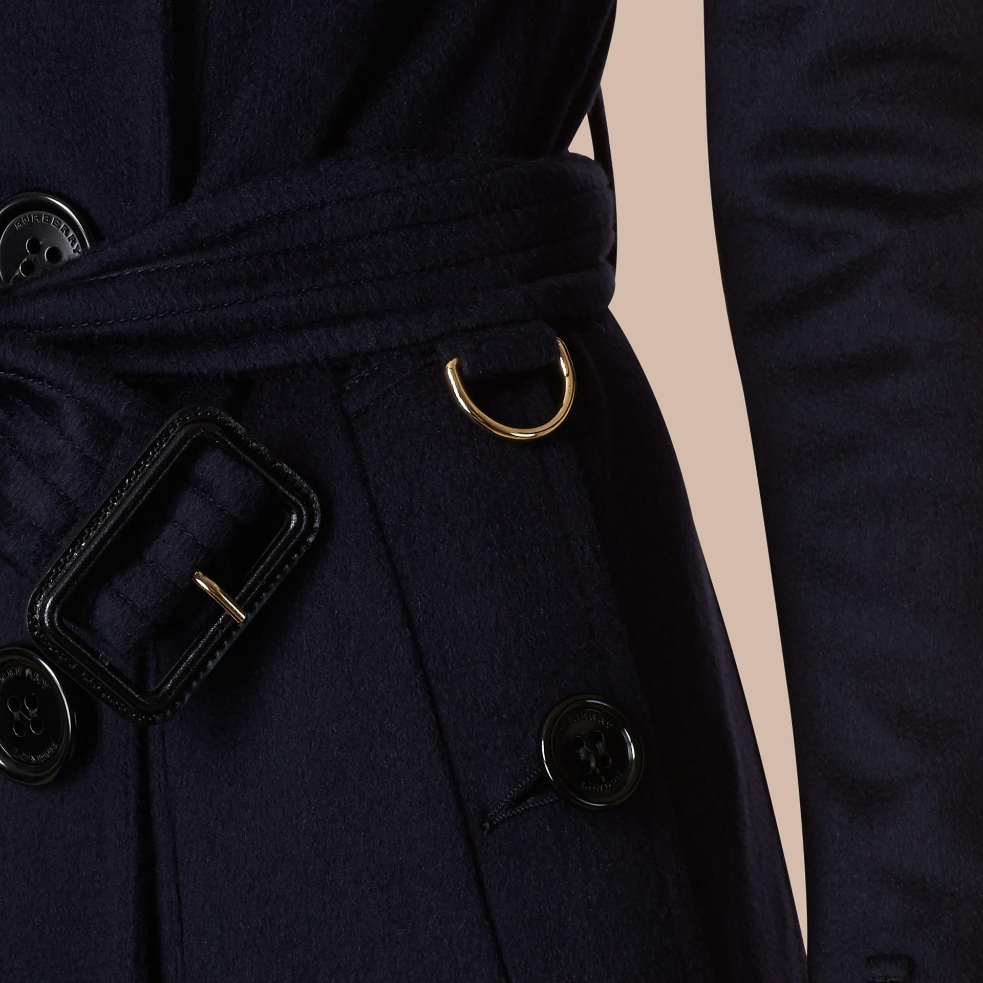 Indigo Sandringham Fit Cashmere Trench Coat Indigo - gallery image 6
