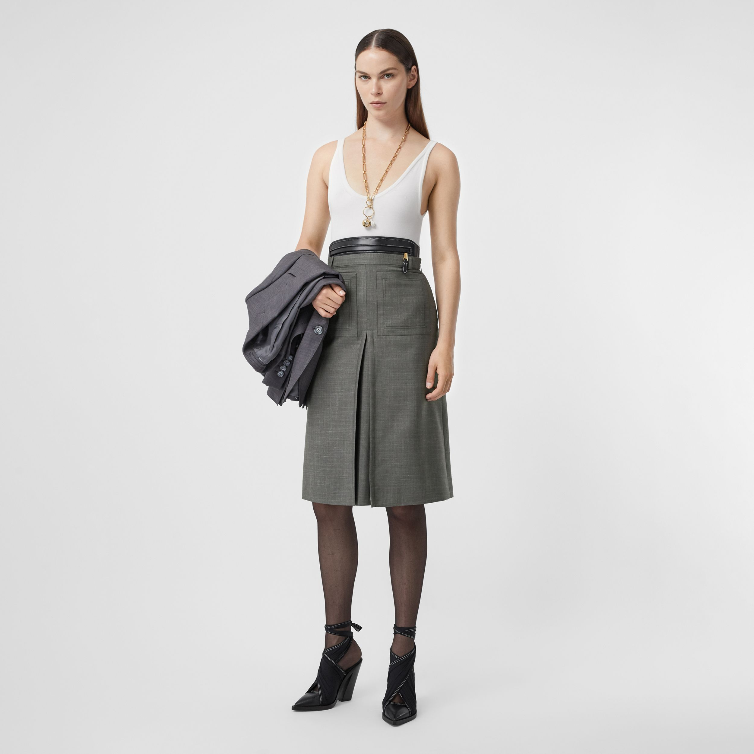 Box-pleat Detail Wool Silk Blend A-line Skirt in Charcoal Grey - Women | Burberry - 1