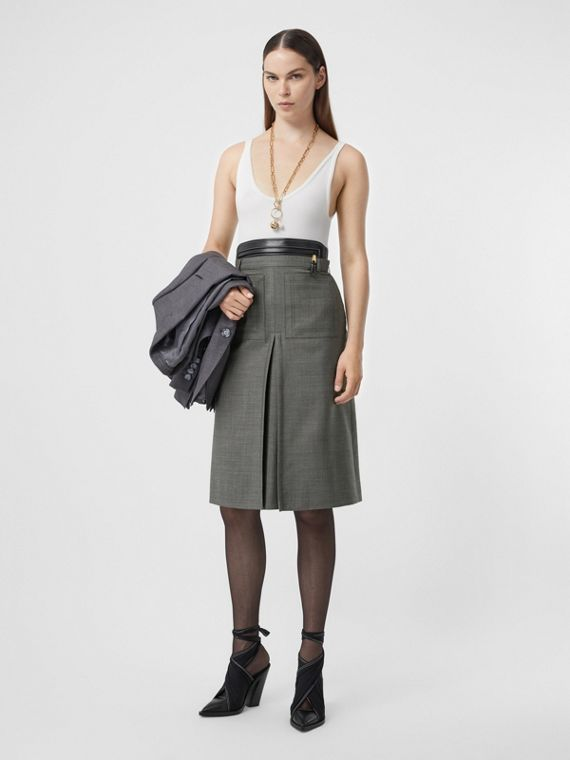 Box-pleat Detail Wool Silk Blend A-line Skirt in Charcoal Grey