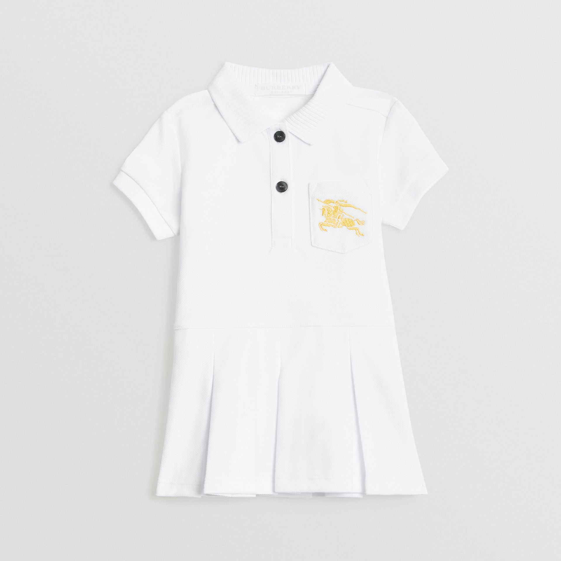 EKD Logo Cotton Polo Dress in White - Children | Burberry - gallery image 0