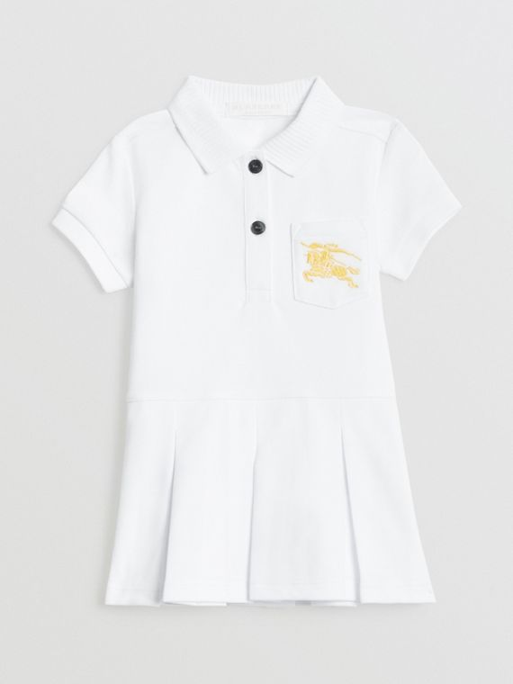 EKD Logo Cotton Polo Dress in White