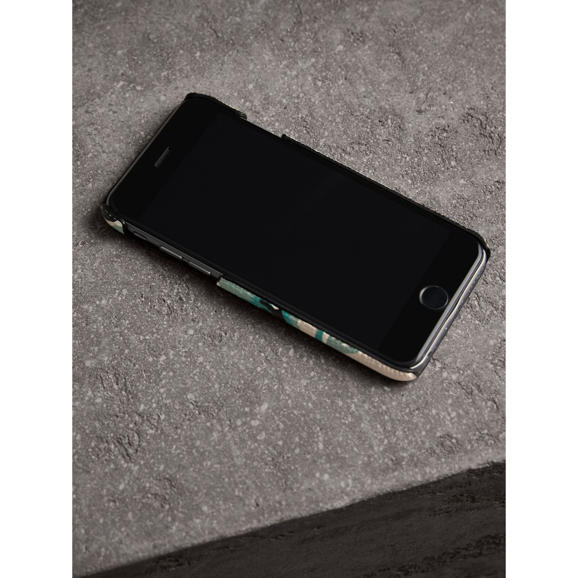 Peony Rose Print Leather iPhone 6 Case in Natural / Emerald Green | Burberry - gallery image 3