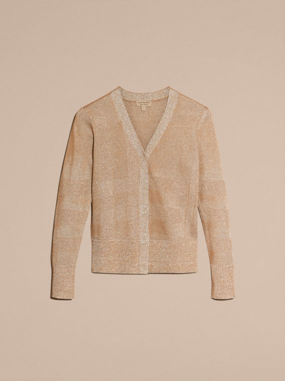 Camel Metallic Check Wool Blend Cardigan - cell image 3