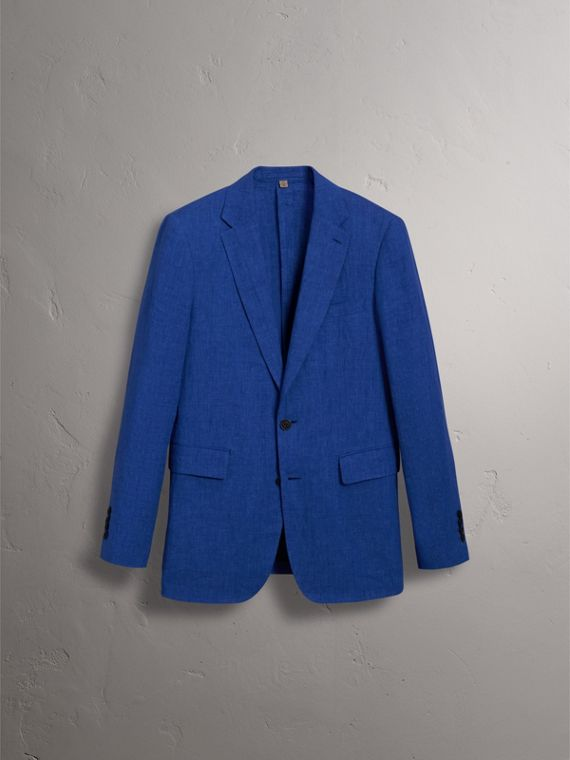 Soho Fit Linen Tailored Jacket in Violet Blue - Men | Burberry Australia - cell image 3