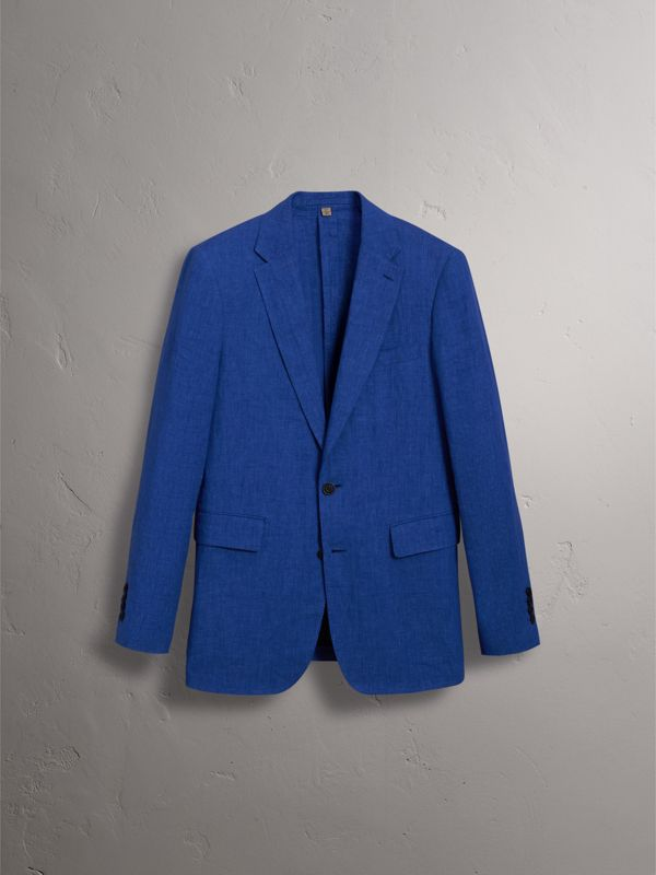 Soho Fit Linen Tailored Jacket in Violet Blue - Men | Burberry United Kingdom - cell image 3