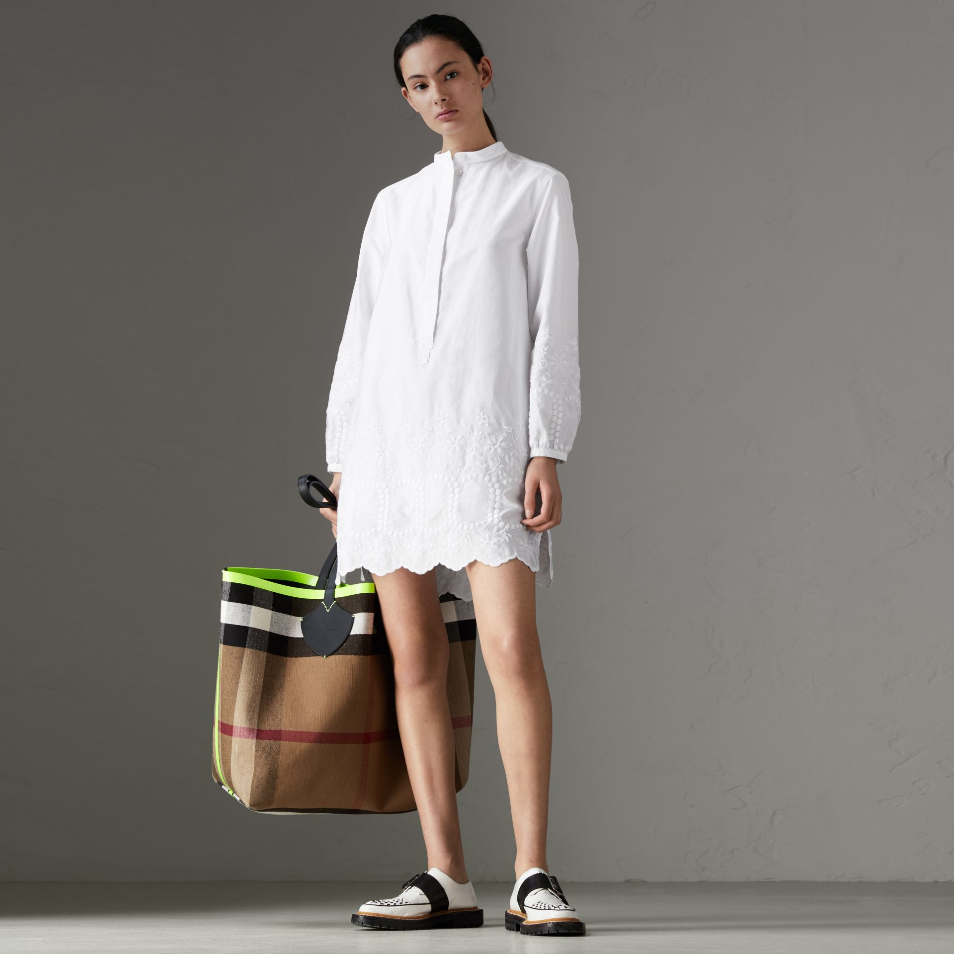 Embroidered Cotton Poplin Shirt Dress in White - Women | Burberry Australia - gallery image 0