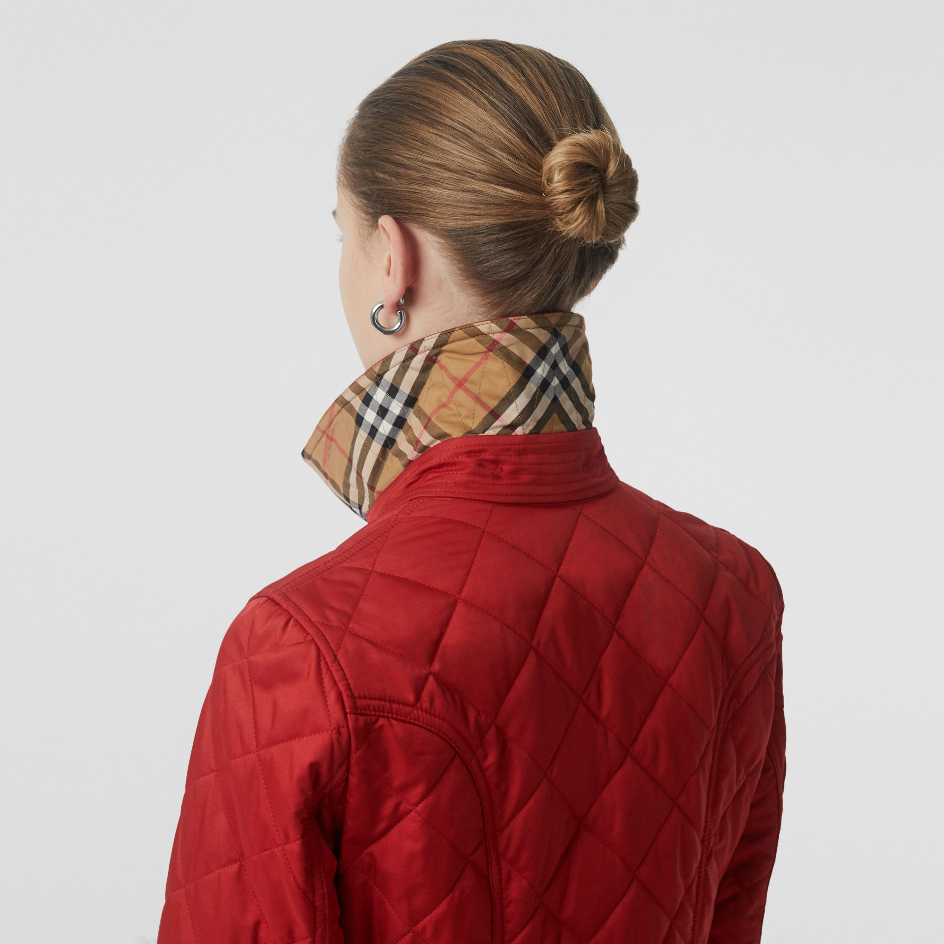 Diamond Quilted Jacket in Military Red - Women | Burberry United Kingdom - gallery image 5