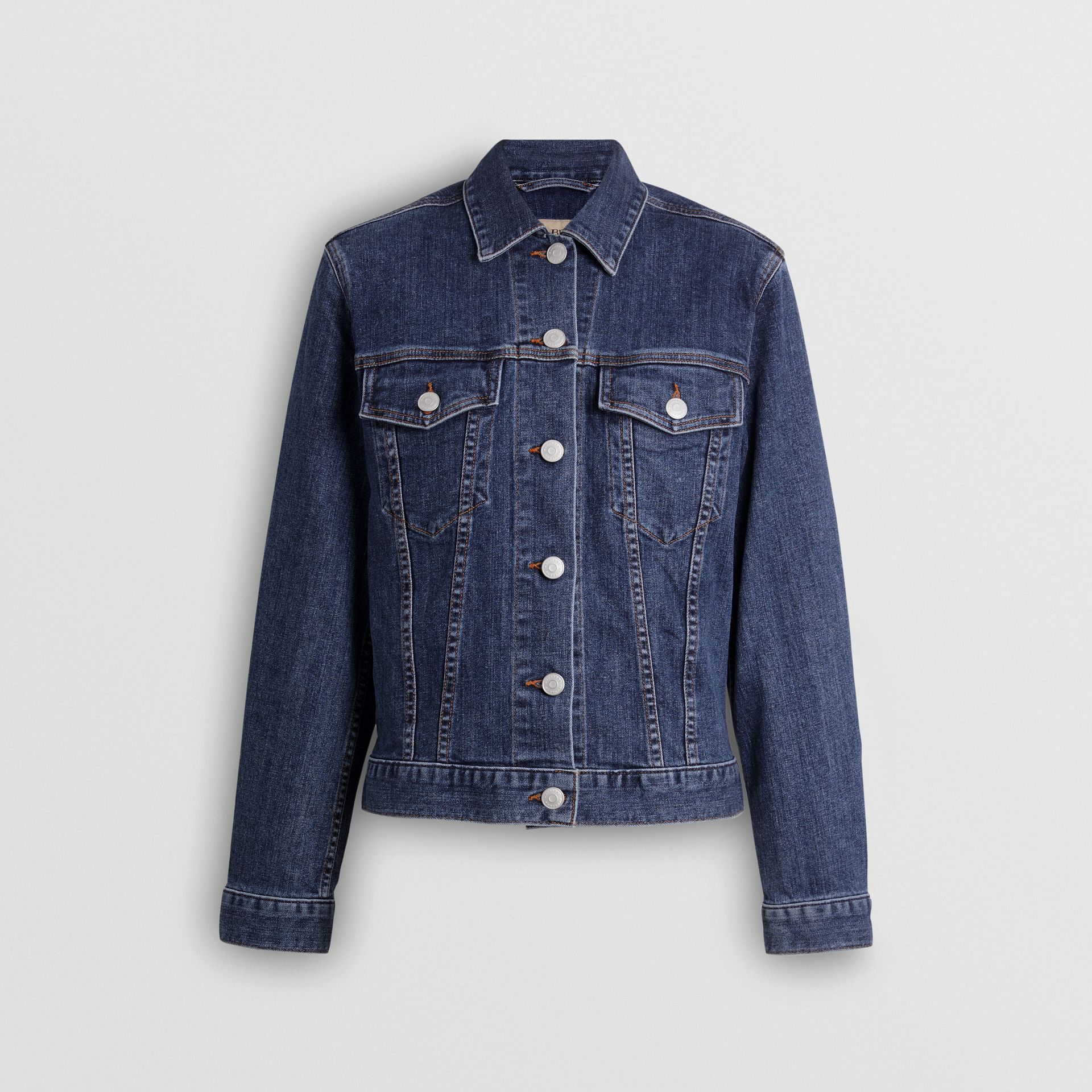 Embroidered Crest Denim Jacket in Blue - Women | Burberry United Kingdom - gallery image 3