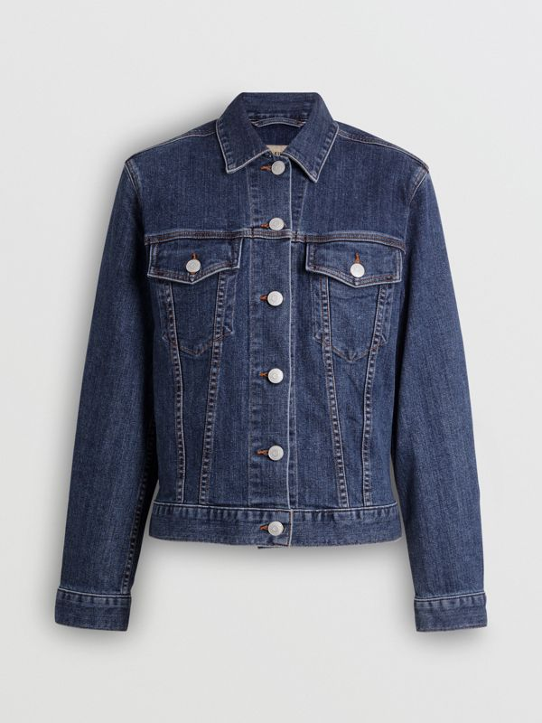 Embroidered Crest Denim Jacket in Blue - Women | Burberry United States - cell image 3